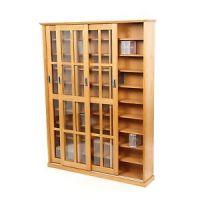 Large Solid Oak Wood Media Cabinet CD DVD Storage Shelves ...