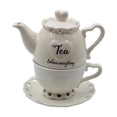 Teekanne & Tasse mit Herzen Design für eine Becher Kombinationsfilter Stapel