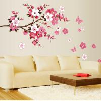 New Room Peach Blossom Flower Butterfly Wall Sticker Vinyl ...