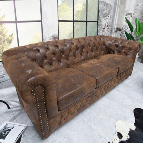 Edles Chesterfield Sofa 3-Sitzer im Antik Couch Polstersofa braun Couchgarnitur
