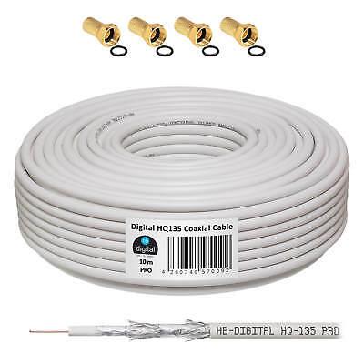 10m Koaxialkabel 135dB SAT Antennenkabel Digital SAT Koax Kabel HDTV F-Stecker