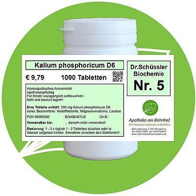 Schüßler - Salz 5 Kalium phos. D6 glutenfrei 1000 Tabletten PZN 08000560