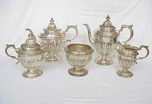 gothic tea set sterling silver