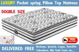 Double Size Bed Mattress Luxury Pocket Spring Pillow Top