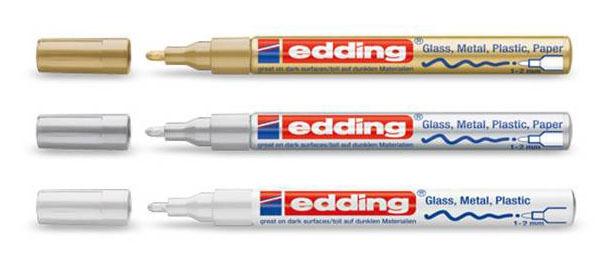 Edding 751 Lackstift 1-2 mm - gold - silber - weiß