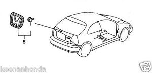 Genuine Honda Civic 3DR Hatchback Rear H Emblem 1996 2000