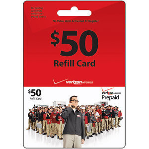 Verizon Wireless 50 Prepaid Refill Top Up Reload Card eBay