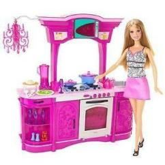 Barbie Kitchen Playset Glass Cabinet Ebay Furniture