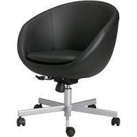 IKEA skruvsta egg cup swivel office chair black leather ...