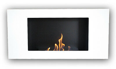 Valencia Delux Bioethanol Fire White with 1L Bioethanol Burner Chamber