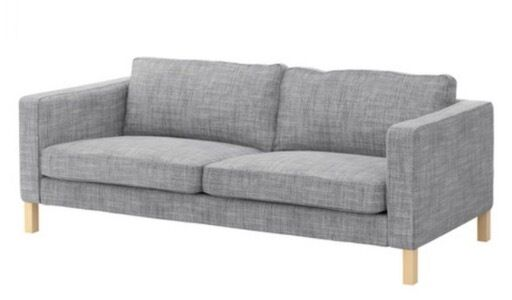 karlstad 3 seat sofa bed cover charcoal grey living room ikea seater in isunda white excellent condition