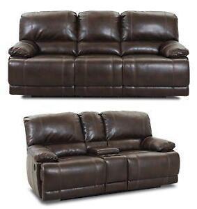 reclining sofa leather brown small corner sofas ebay set
