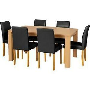 oak dining set 6 chairs modern sleek table and ebay