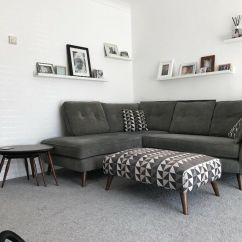 3 Seater Leather Sofa Dfs Wicker Cushions Uk Grey French Connection Zinc Right Arm Facing Corner ...