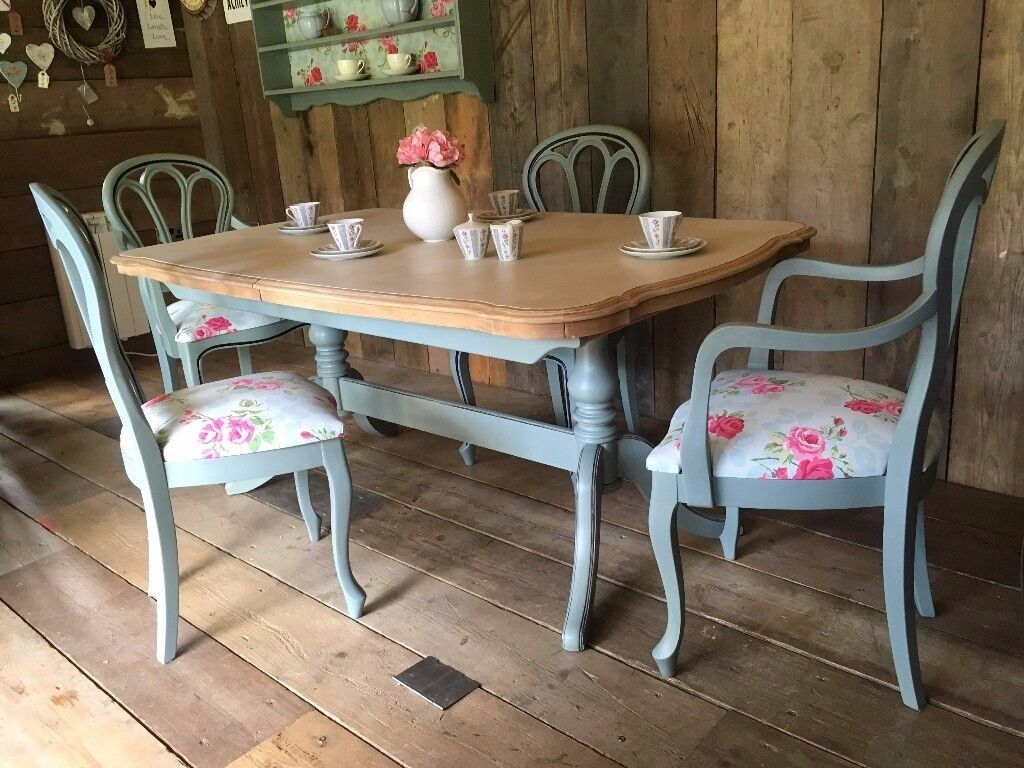 upcycled dining room chairs proper posture in chair shabby chic painted table and 4