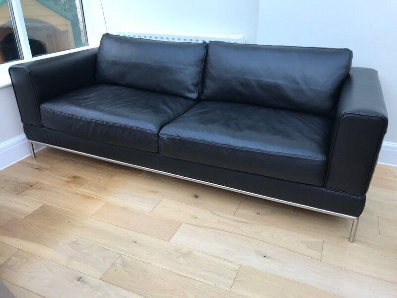 IKEA Black Leather Sofa Arild 3 Seater Sofa  in Southampton Hampshire  Gumtree