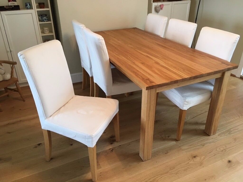 ikea dining table chair covers cover hire huntingdon six henriksdal oak chairs with grasbo white