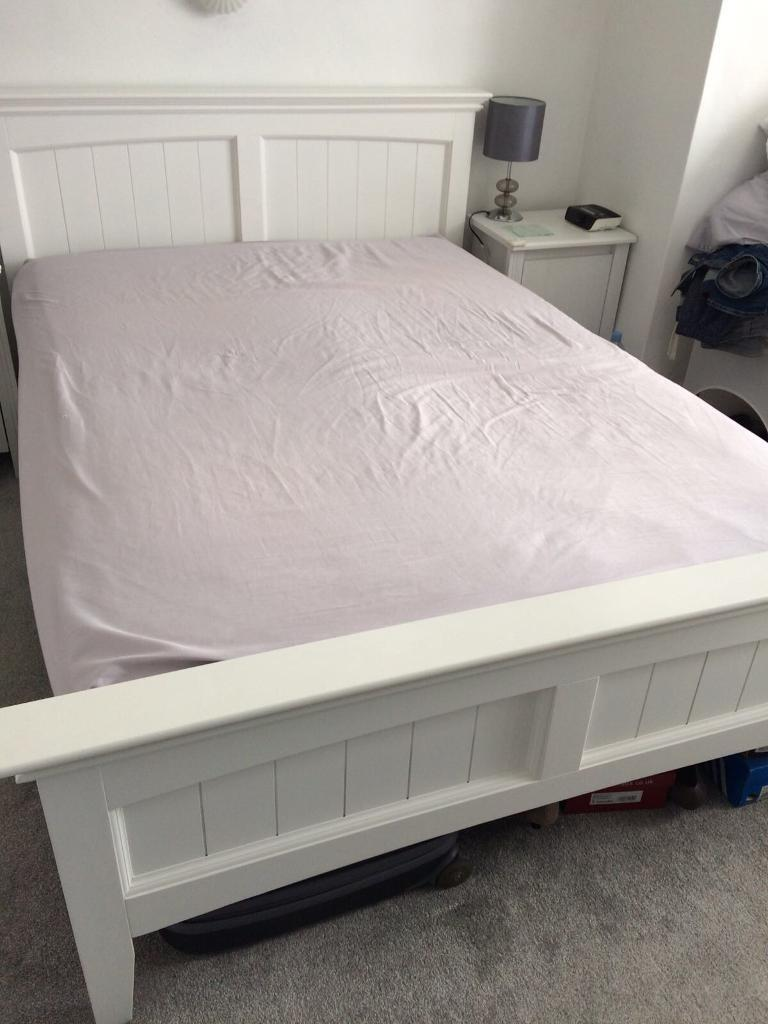 Dreams White Wooden Double Bed Frame Sprung Slats In