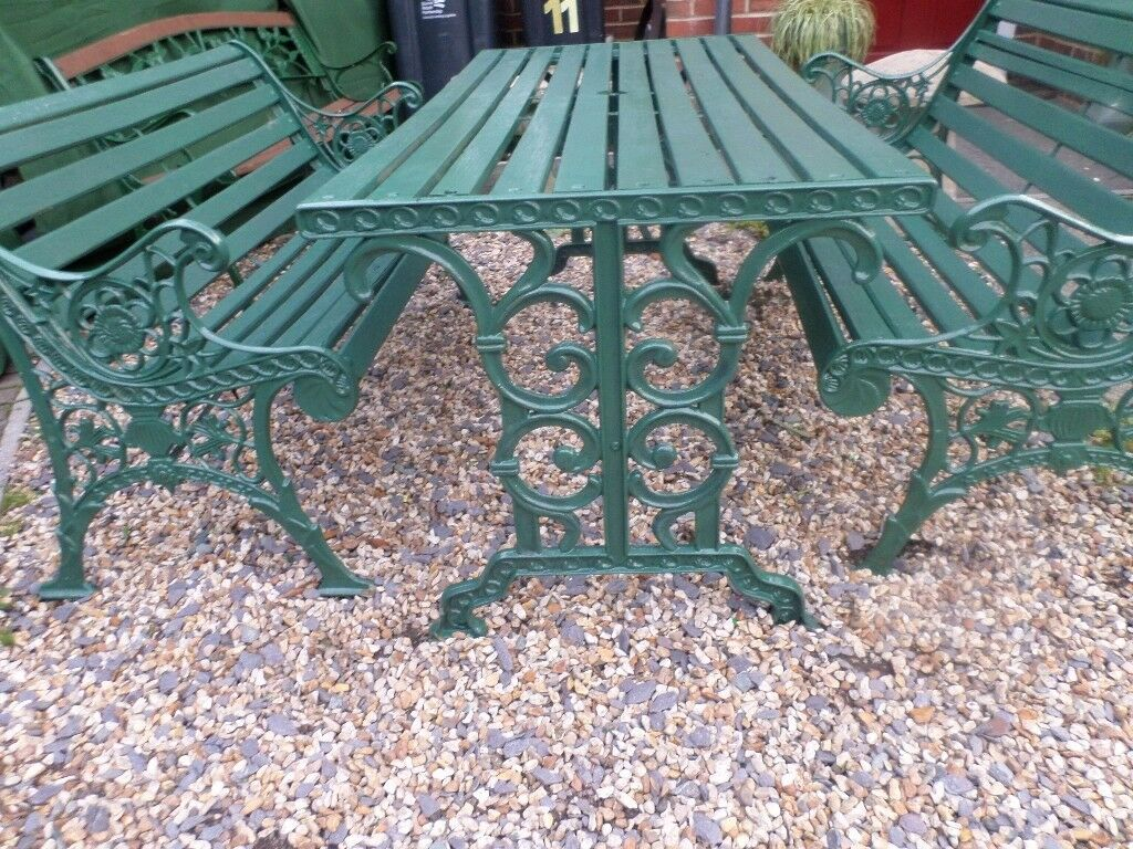 cast iron table and chairs gumtree armless accent chair slipcover old antique heavy garden bench set