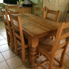 Cheap Folding Tables And Chairs Teak Table Chunky Country Farmhouse Rustic Solid Pine 5' X 3' Wooden Dining 6 | In Andover ...