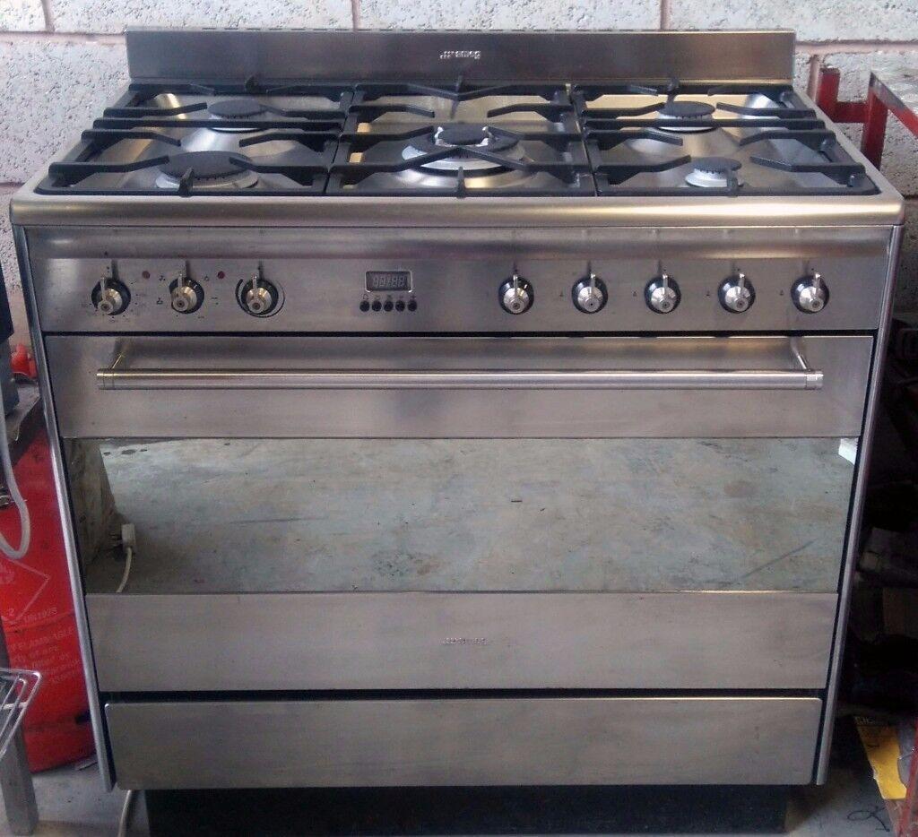 smeg wall oven wiring diagram ups for home suk91mfx fan assisted dual fuel 5 burner range cooker