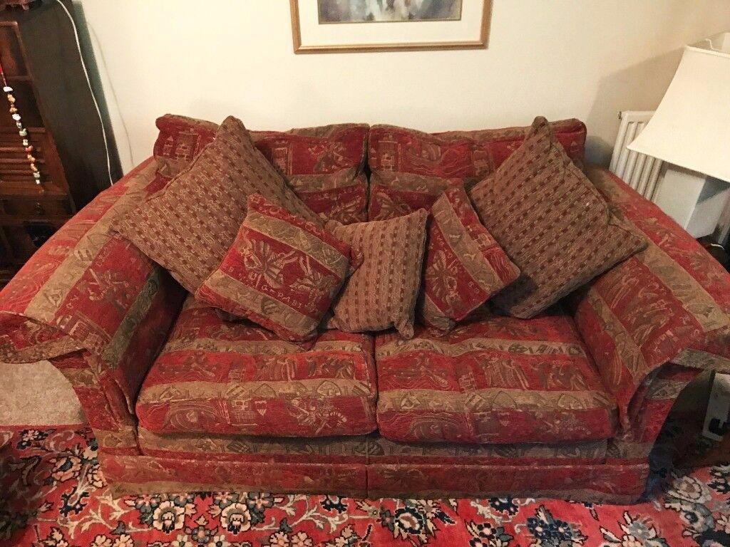 print sofa set designer covers duresta maximus red brown 2x two seater