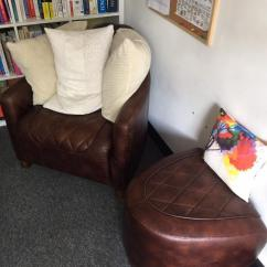 Brown Leather Tub Chair With Footstool Tabletop High Recall And In Biddulph Staffordshire