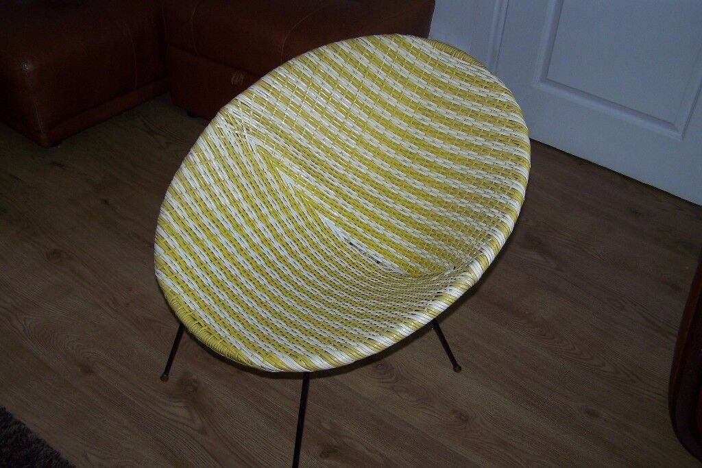 crushed velvet chair folding canopy with footrest vintage vinyl weave tub bucket 1950s 60s woven | in hartlepool, county durham gumtree