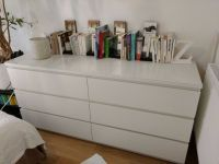 White IKEA Malm 6 drawer dresser with frosted glass top ...