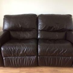 Two Seater Recliner Sofa Gumtree Diy Outdoor 2x Dfs 2 Brown Leather Sofas 1 With Double