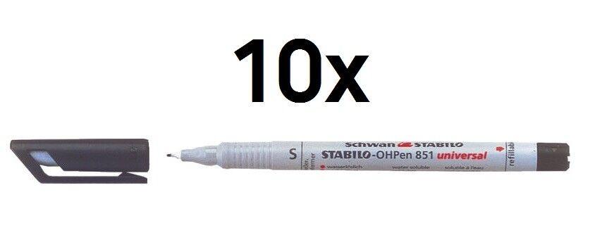 10 x Stabilo® Folienschreiber OHP-Marker Superfein, wasserlöslich, schwarz