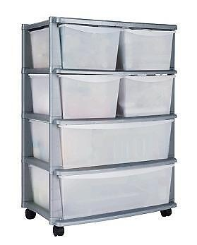 6 Drawer Plastic Wide Tower Storage Unit White