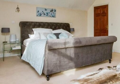 Beautiful Feather Black Upholstered Bed Frame And Mattress Only
