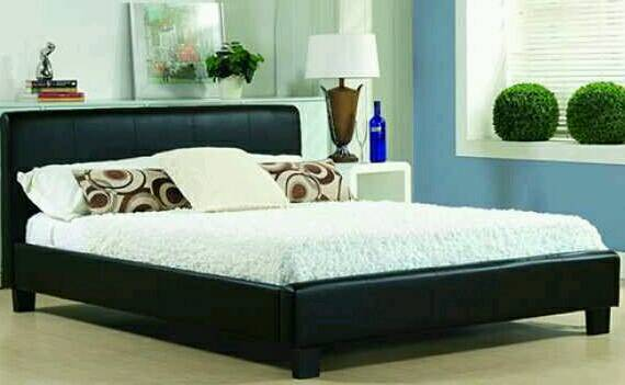 Black Faux Leather 4ft6 Double Bed With Reflex Memory Foam Mattress
