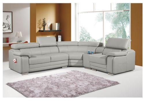 grey sofa chaise lounge bobs furniture tables leather corner sofas | ebay