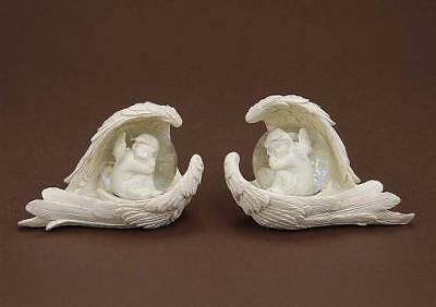 2 träumende Engel in Schneekugel Neu 10cm x 8cm