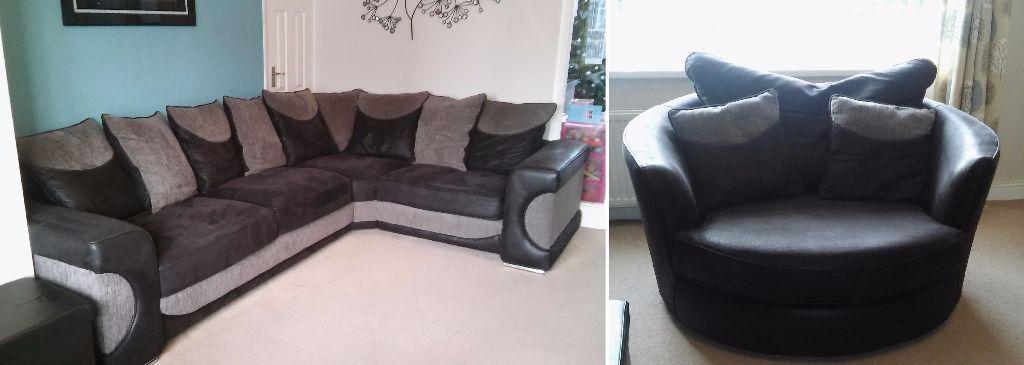 Sofa Works Black Grey Halo Corner Sofa Swivel Cuddler