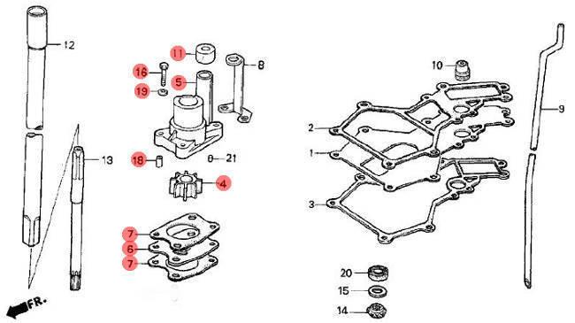 06193-ZV1-000 Honda Marine Complete Water Pump Rebuild Kit