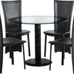 Black Table And Chairs Ergonomic Knee Chair Glass Dining Ebay Round
