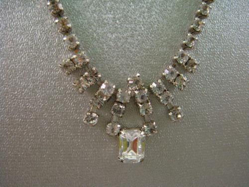 Vintage Clear Rhinestone Necklace EBay