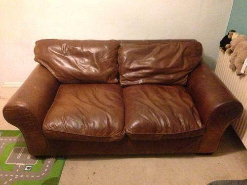 Laura Ashley Leather Sofa  eBay