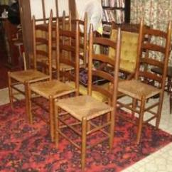 Antique Ladder Back Chairs With Rush Seats Office Chair Tall Ebay Seat