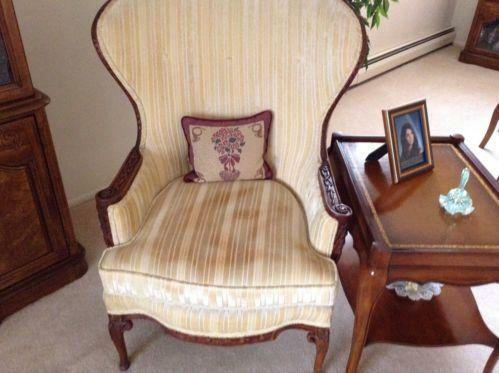 queen anne wingback chair leather gothic revival chairs antique wing | ebay