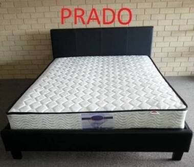Double Innersprung Mattress Pu Bed Frame Black Or White