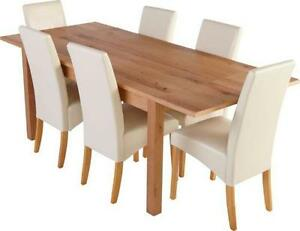 table and 6 chairs chair covers for birthday party dining furniture ebay cream