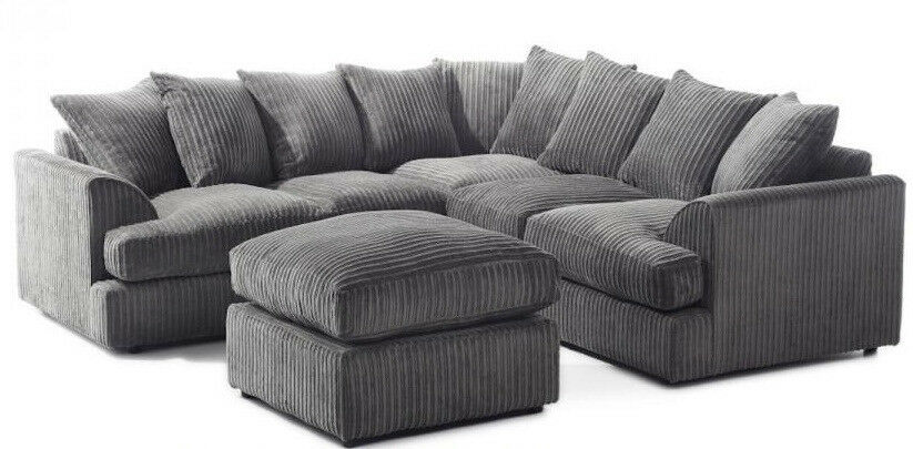 swivel chair uk gumtree primitive pads express delivery large liverpool t arm corner sofa in jumbo black or grey