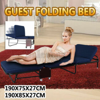 Portable Guest Folding Camping Bed W Single Mattress Headrest
