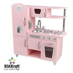 Retro Kids Kitchen Cabinet Sets For Sale Kidkraft 53179 Vintage Pretend Play Pink Ebay