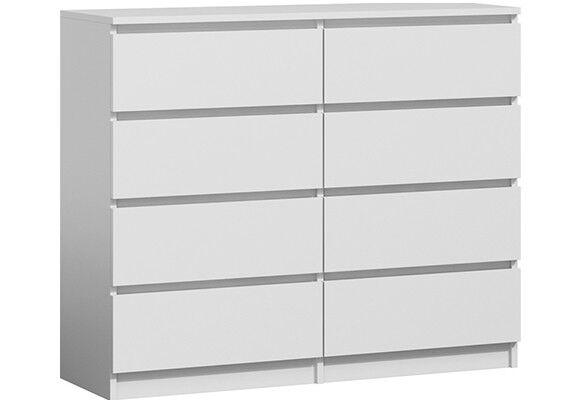 Moderne Kommode 8 Schubladen 120cm BREIT Schubladenkommode Weiß NEU