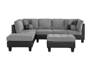 living room sets sectionals modern design ideas 2017 furniture set ebay 3 pc microfiber faux leather sectional sofa reversible grey